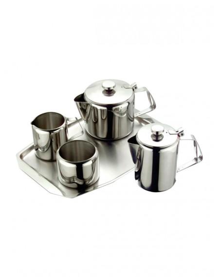 Jogo de Chá e Café em Inox 5 Peças Tradicional