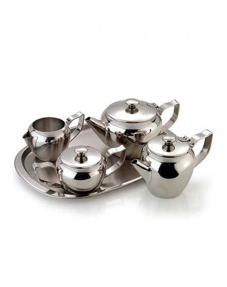 Jogo de Chá e Café em Inox 5 Peças Arredondado