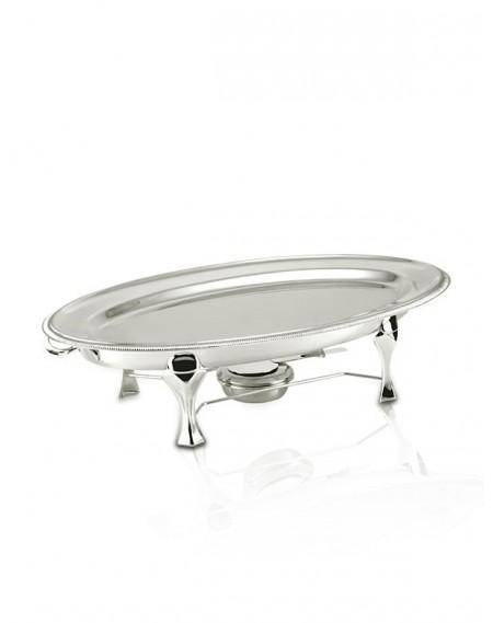 Rechaud Oval Banho Maria com Travessa Prata Apolo 68x43cm