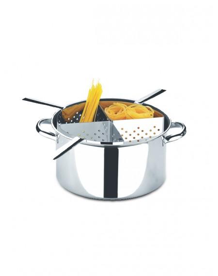 Espagueteira em Aço Inox c/ 4 Divisões 10 Litros