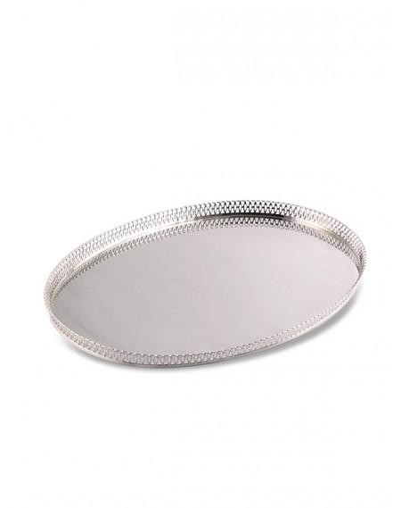 Bandeja Oval c/ Grade em Prata Apolo 41x57cm