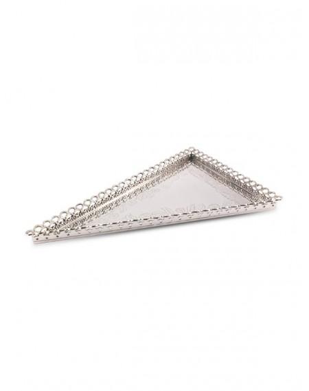 Bandeja Triangular Gravada com Grade Prata Apolo 60x40cm