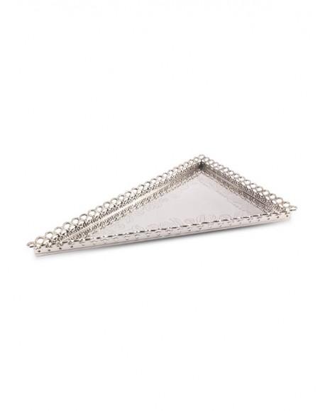 Bandeja Triangular Gravada c/ Grade Prata Apolo 60x40cm