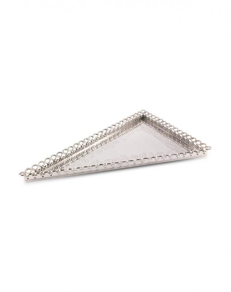 Bandeja Triangular Gravada c/ Grade Prata Apolo 30x20cm