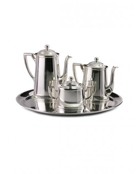 Conjunto para Café Oval 5 peças Prata Apolo