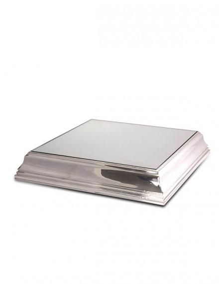 Base Quadrada com Espelho p/ Bolo Prata Apolo 35x35x10cm