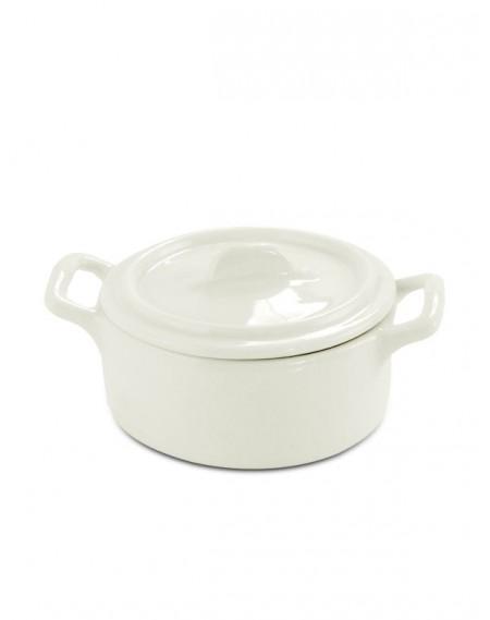 Mini Caçarola com Tampa Consumé Porcelana Branca 10,5x7x5cm