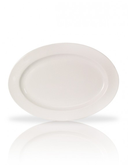 Travessa Oval Rasa Porcelana Branca 65x40x6,5cm