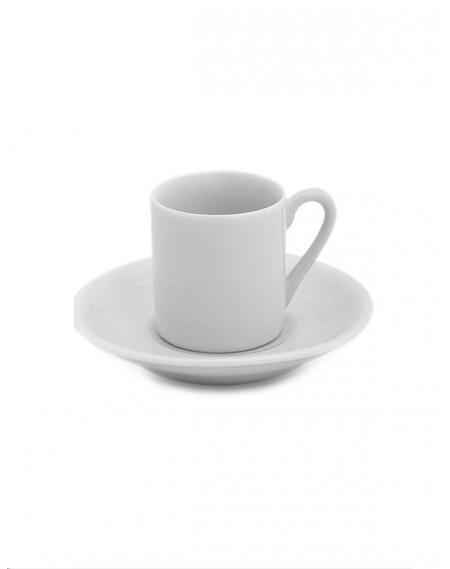 Xícara Café c/ Pires Tradicional Porcelana Branca Geni 55ml
