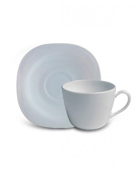 Xícara de Chá com Pires Branca Parma 220ml Bormioli
