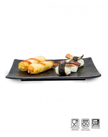 Travessa Sushi-Sashimi Retangular Melamina Profissional 25cm
