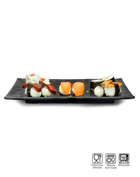 Travessa Sushi-Sashimi Retangular Melamina Profissional 30cm
