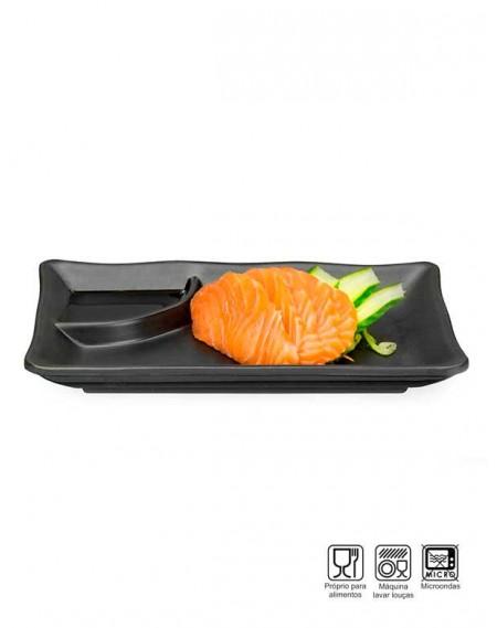 Prato Sushi-Sashimi com Porta shoyu Melamina Profissional 19cm