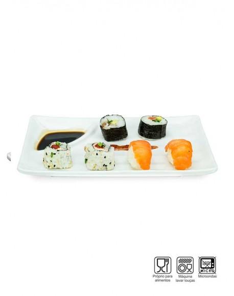 Prato Sushi-Sashimi com Porta Shoyu Melamina Profissional 25cm