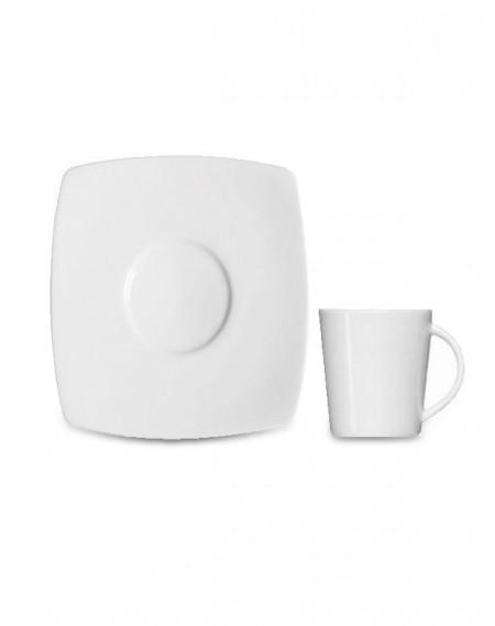 Xícara Café com Pires Square Porcelana Branca Germer 90ml