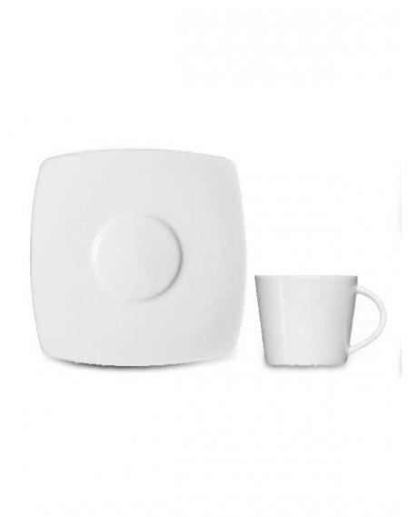 Xícara Chá com Pires Square Porcelana Branca Germer 185ml