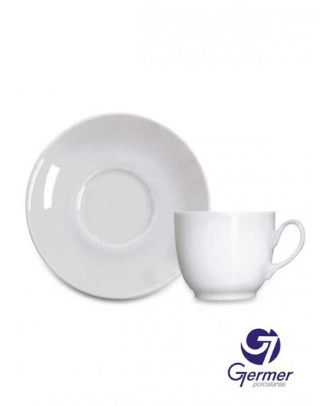 Xícara Chá com Pires Coup Porcelana Branca Germer 230ml