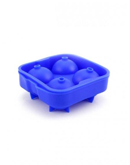 Forma de Gelo em Silicone Esférica 04 Cavidades Azul