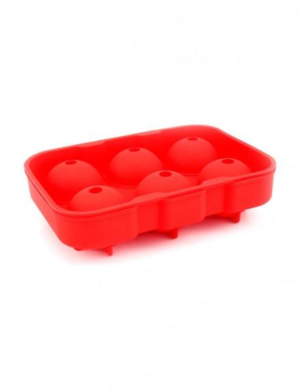 Forma de Gelo em Silicone Esférica 06 Cavidades Vermelha