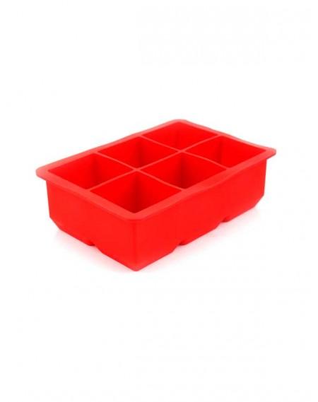 Forma de Gelo Quadrada em Silicone 06 Cavidades Vermelha