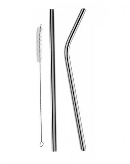 Kit Canudo Curvo em Inox 3 Peças 26,5cm