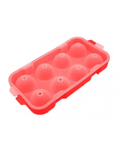 Forma Bola de Gelo Silicone 08 Compartimentos Vermelha