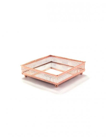 Bandeja Espelhada Quadrada Cobre Rosê Gold 15cm