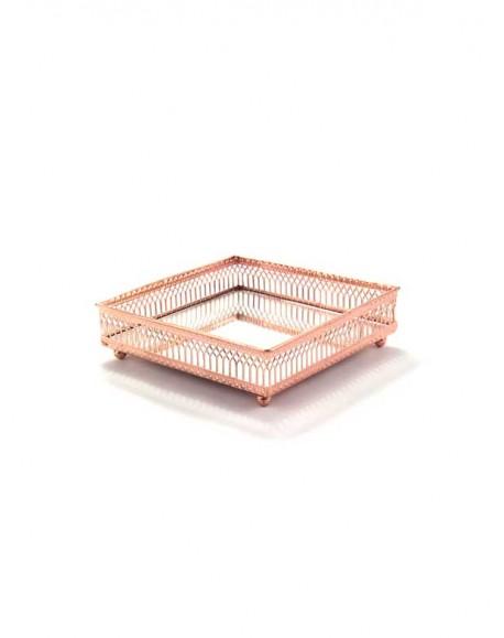 Bandeja Espelhada Quadrada Cobre Rosê 15cm