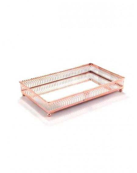 Bandeja Espelhada Retangular Rosê Gold 25x16cm