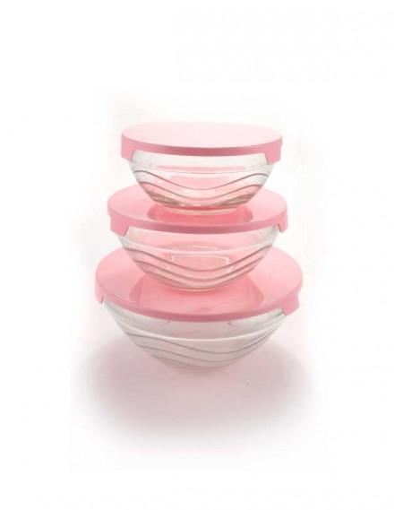 Conjunto de Potes Vidro 3 peças com Tampa plástica rosa