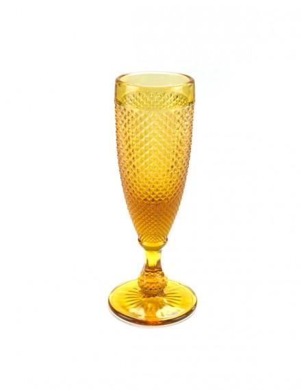 Taça de Champanhe Bico de Jaca Ambar 6 unidades