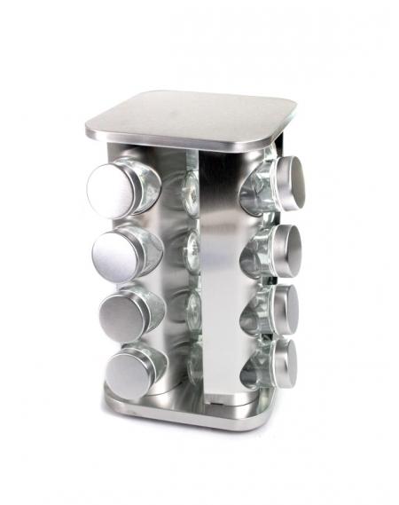 Porta Condimentos C/Base Gir. 16 Potes Inox