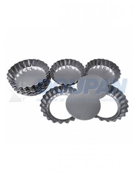 Forminha Alumínio Torta de Maçã Crespa Fundo Falso 10cm - 12 Unidades